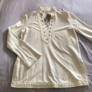 Michael Kors Cream V-cut Collared Sweatshirt